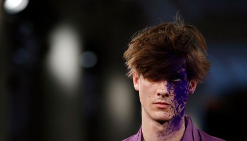 Paintball chic / One Direction hair at London College of Fashion MA Show in the Waldorf Astoria Hotel, Aldwych, London. Photograph: Jonathan Brady/PA Wire