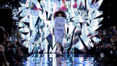 An explosion of colour and light at the London College of Fashion MA Show at the Waldorf Astoria Hotel, Aldwych, London. Photograph: Jonathan Brady/PA Wire