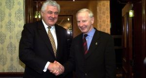 Richard Burrows and Pat Hickey pictured in 2001.