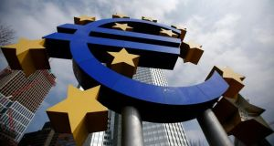 The euro  sign outside the European Central Bank in Frankfurt.  Both of the euro zone's largest economies, France and Germany, expanded by more than analysts had expected. Photograph: Reuters/Lisi Niesner