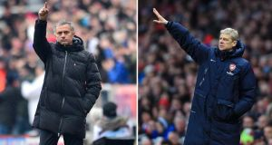 Chelsea manager Jose Mourinho takes his team to the Etihad Stadium for an FA Cup fourth round tie with Manchester City. – Photograph: PA.  Chelsea manager Jose Mourinho (left) and Arsenal manager Arsene Wenger (right).