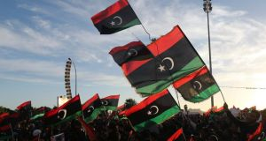 People take part in a protest against the General National Congress (GNC) in Benghazi, Libya earlier this week. Photograph: Esam Omran Al-Fetori/Reuters