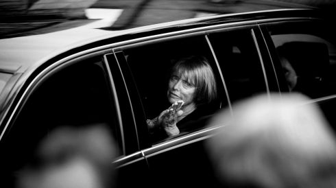 Untitled: As the remains of poet Seamus Heaney leave Donnybrook Church for burial, his widow Marie thanks the public who lined the street and applauded. Photograph: Bryan O'Brien, The Irish Times ( 3rd place in News)