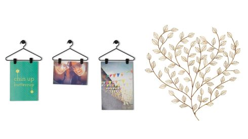 Coathanger photo display, €14.35, lisaangel.co.uk Gold leaf plaque, €48, Next