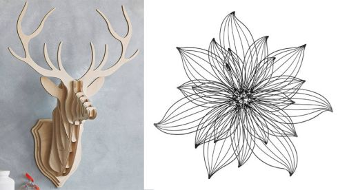 Wooden stag head, €87.29, Clive Roddy at etsy.com Flower metal wall art, €39.99, Argos