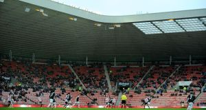 A crowd of just 16,777 watched today's match at the Stadium of Light. Photograph: Owen Humphreys/PA Wire.