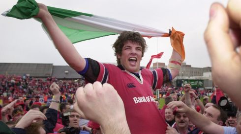 O'Callaghan is carried aloft on a sea of red as Munster fans invade the pitch following their team's win over Leicester in the Heineken Cup quarter-final in 2003.  Photograph: Eric Luke/The Irish Times