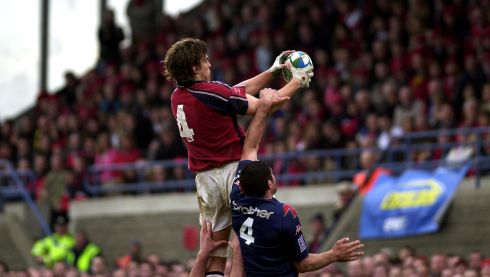 O'Callaghan takes a firm grasp on the ball despite the efforts of Stade Francais captain David Auradou in the Heineken Cup quarter-final of 2004;. Photograph: Eric Luke/The Irish Times