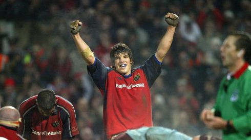 O'Callaghan celebrates victory for Munster over Bourgoin in 2004. Photograph: Patrick Bolger/Inpho