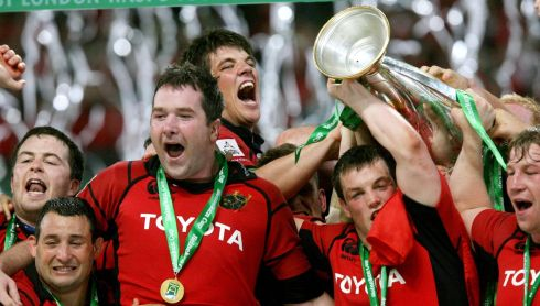 Finally getting his hands on the Heineken Cup trophy with a win over Biarritz in 2006. Photograph: Billy Stickland/Inpho