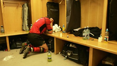 A moment of quiet reflection after Munster's Heineken Cup final win over Biarritz in 2006. Photograph: Billy Stickland/Inpho