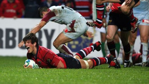 Scoring a try in a 2007 Heineken Cup match. Photograph: Billy Stickland/Inpho