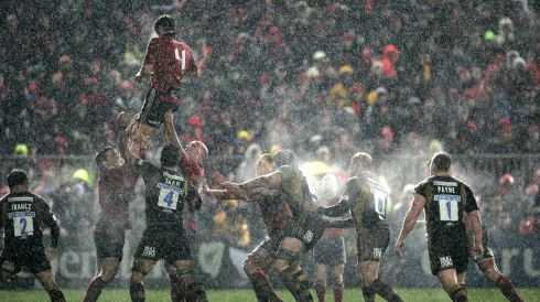 Winning a lineout against London Wasps, during the rain soaked Heineken Cup game at Thomond Park in 2008. Photograph: Dara Mac Donaill/The Irish Times