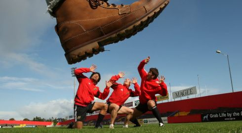 Joking about with Lifeimi Mafi and Peter Stringer during a photocall at Thomond Park. Photograph: Billy Stickland/Inpho