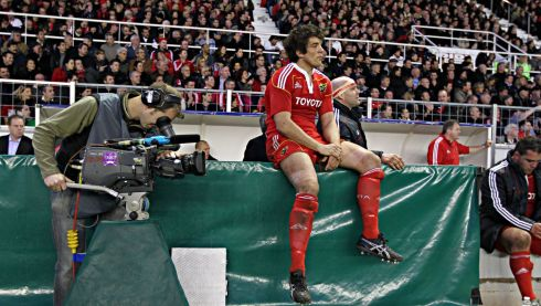 Taking a breather after being replace during a match against Toulon in 2011. Photograph: Billy Stickland/Inpho