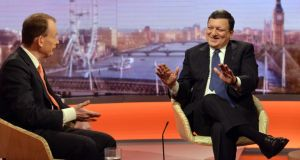 Handout photo issued by the BBC of Andrew Marr (left) and President of the European Commission Jose Manuel Barroso appearing on BBC1's current affairs programme, The Andrew Marr Show today. Photograph: PA/BBC