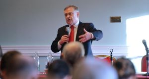 Minister for Public Expenditure and Reform Brendan Howlin addresses a workshop at the Labour Party conference in Enfield on Saturday. Photograph: Alan Betson
