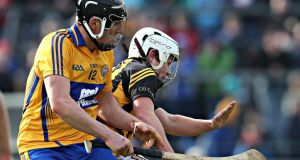 Clare's Shane Golden battles with Kilkenny's Padraig Walsh at Cusack Park. Photo:  Photo: Cathal Noonan/Inpho