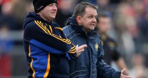 Clare manager Davy Fitzgerald and Seoirse Bulfin at  Cusack Park, Ennis, on Sunday. Photograph: Cathal Noonan/Inpho