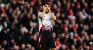 Luis Suarez of Liverpool reacts during the FA Cup Fifth Round match between Arsenal and Liverpool at the Emirates Stadium on February 16th. Photograph: Shaun Botterill/Getty Images