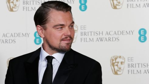 Actor Leonardo DiCaprio poses for a photograph at the Baftas. He was nominated as best actor for the Wolf of Wall Street. Photograph: Suzanne Plunkett /Reuters