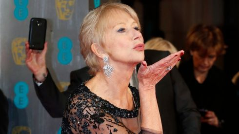 Actress Helen Mirren arrives at the British Academy of Film and Arts (BAFTA) awards ceremony at the Royal Opera House in London. She won the Bafta Film Fellowship in 2014. Photograph: Suzanne Plunkett /Reuters