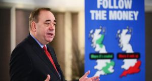 Alex Salmond, Scotland's first minister, addresses a Business for Scotland event in Aberdeen today. Photograph: Jeff J Mitchell/Getty Images.