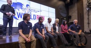 Seated, Piers White (the Mark Pollack Trust), Richard Donovan (ultrarunner and Irish race director), Colin Jackson (international race director), Anita Gerhardter (chief exexutive, Wings for Life), Dr Jessica Kwok (SCI researcher) and Mark Pollock (Wings for Life ambassador) answer questions from the audience during the Wings for Life World Run Google Hangout in Dublin, Ireland. Photograph: Courtesy of Redbullcontentpool.com