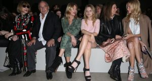 Anna Wintour, Sir Philip Green, Kate Moss, Lottie Moss, Natalie Massenet and Poppy Delevingne at Topshop Unique Show. Photograph: Getty Images