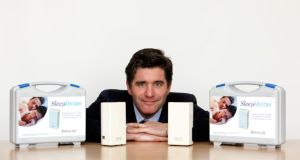 Dr Conor Hanley, co-founder and chief executive of BiancaMed, with the SleepMinder product, which Irish Times sleep champions are using for The Sleep Challenge. Photograph: Jason Clarke Photography