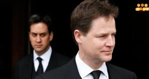 Britain's deputy prime minister Nick Clegg (right) and Labour leader Ed Miliband in a file photograph from April 2013. Clegg has fuelled speculation that he is positioning for coalition with Labour next year by saying he believes Miliband's party has 'changed'. Photograph: Olivia Harris