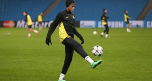 Neymar during a training session  at the Etihad Stadium. Photograph: Clive Brunskill/Getty Images
