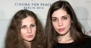 A file photo of Nadezhda Tolokonnikova (R) and Maria Alyokhina (L) of the Russian punk band Pussy Riot. Photograph: EPA/Joerg Carstensen.