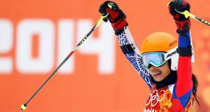 Vanessa Mae, competing for Thailand under her father's name Vanessa Vanakorn, reacts in the finish area after competing in the first run of the women's alpine skiing giant slalom event. Photograph: Kai   Pfaffenbach/Reuters