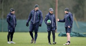 Ireland assistant coach Richie Murphy, forwards coach John Plumtree, assistant coach Les Kiss and head coach Joe Schmidt during training at Carton House yesterday. Photograph: Dan Sheridan/Inpho