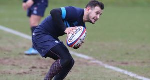Danny Care runs with the ball during the England training session  at Pennyhill Park   in Bagshot on Tuesday. Photograph:  David Rogers/Getty Images