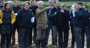 Willie Mullins speaks to the media during the visit to his Closutton stables in Bagenalstown, Co Carlow.