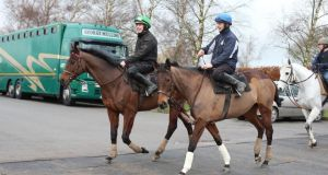 Hurricane Fly ridden by Paul Townend (left) and Quevega (ack Madden) during the media day at Willie Mullins stables in Bagenalstown, Co Carlow.