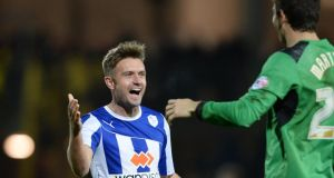 Stephen McPhail celebrates a victory over Watford with Sheffield Wednesday team-mate  Damian Martinez last December. The former Republic of Ireland midfielder has now signed for Shamrock Rovers.  Photo:  Robin Parker/Getty Images
