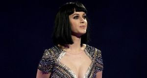 Katy Perry on stage during the 2014 Brit Awards at the O2 Arena. Photograph:  Yui Mok/PA Wire.