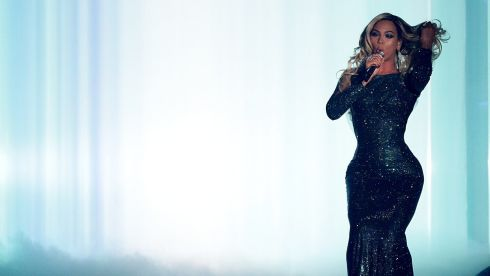 Beyonce glitters during her performance at the awards. Photograph: Yui Mok/PA Wire