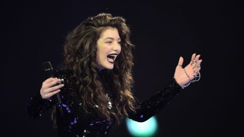 Lorde's reaction as she scoops the award for International Female Solo Artist. Photograph: Ian Gavan/Getty Images