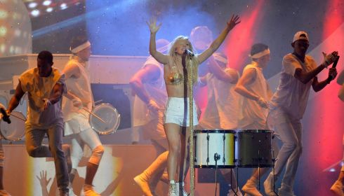 Goulding performs at the ceremoney.  Photograph: Toby Melville/Reuters