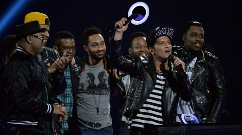 And the winner of the International Male Solo Artist award is Bruno Mars. Photograph: Toby Melville/Reuters