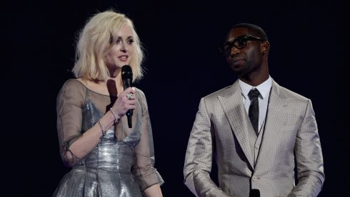 Fearne Cotton and Tinie Tempah present the award for British Breakthrough Act. Photograph: Ian Gavan/Getty Images