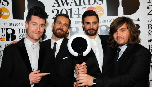Dan Smith, Chris 'Woody' Wood, Kyle Simmons and Will Farquarson of Bastille win of the British Breakthrough Act award, Photograph: Anthony Harvey/Getty Images
