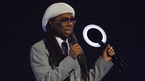 Singer Nile Rodgers accepts the International Group award on behalf of Daft Punk. Photograph: Toby Melville/Reuters