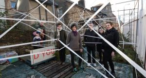 Landscape architect Sophie von Maltzan, centre, with fellow artists and friends in the Smithfield Art Tunnel. Photograph: Brenda Fitzsimons/The Irish Times