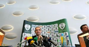 Manager Martin O'Neill at the Republic of Ireland squad announcement in the County Hall, Dooradoyle, Co Limerick. Photograph: Lorraine O'Sullivan/Inpho