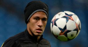 Barcelona's Neymar during a training session at the Etihad Stadium this week. Photograph: Nigel Roddis/Reuters